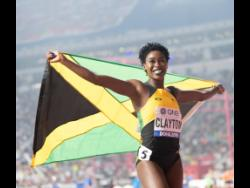 Rushell Clayton of jamaica is ecstatic as she celebrates a bronze medal in the women 400m hurdles final at the 2019 IAAF World Athletic Championships held at the Khalifa International Stadium in Doha, Qatar on Friday October 4, 2019.