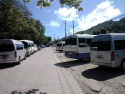 Several buses parked.