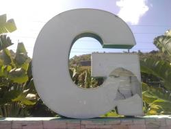 The 'G' in the controversial Welcome to Montego Bay has been damaged.
